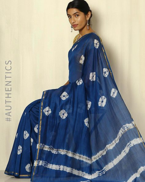 Handblock Print Indigo Chanderi Saree With Zari Border By Indie Picks ( Indigo ) - 460053750001