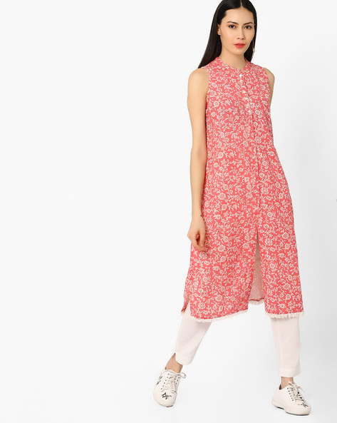 Floral Print Straight Kurta By Melange By Lifestyle ( Pink )