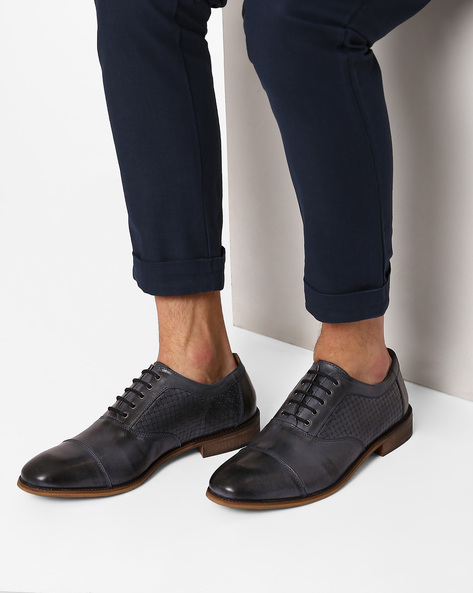 Genuine Leather Textured Oxfords By Hats Off Accessories ( Blue )