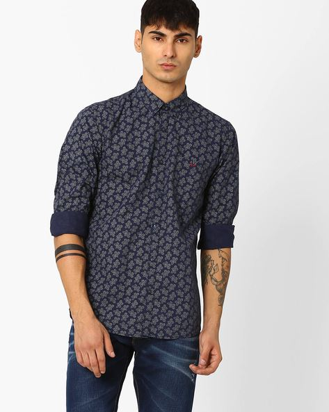 Floral Print Slim Shirt By CRIMSOUNE CLUB ( Black )