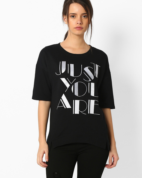 Printed T-shirt With Drop-Shoulder Sleeves By TEAM SPIRIT ( Black )