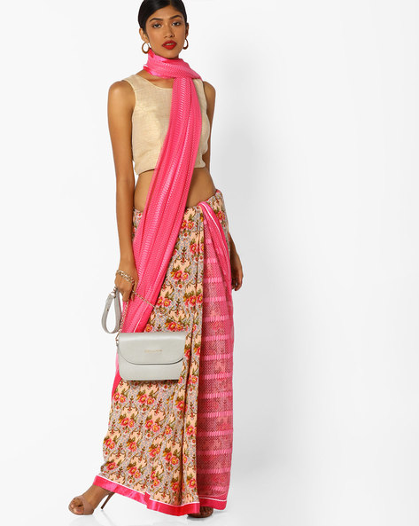 Half-and-Half Style Floral Print Saree By Runalaila ( Pink )