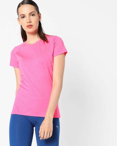 All-Over Print T-shirt With Cut-Outs By Puma ( Pink )