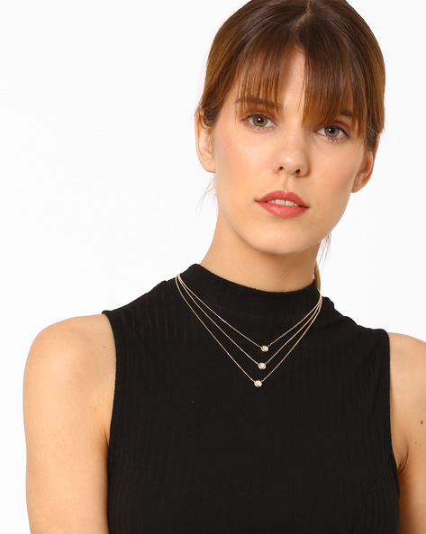 Multistranded Metal Necklace By Ayesha ( Gold ) - 460080350001