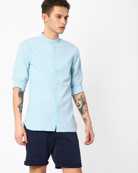 Striped Slim Fit Shirt By Jack & Jones ( Blue )