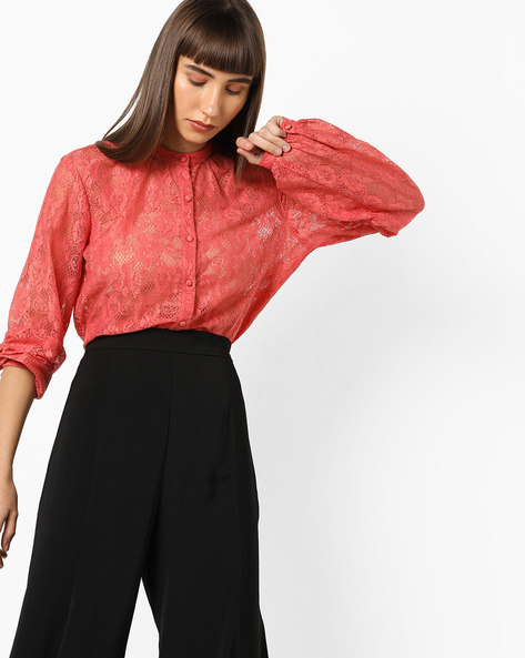 Lace Shirt With Bishop Sleeves By AJIO ( Peach )