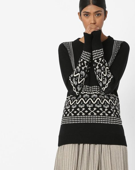Printed Crew-Neck Pullover By Vero Moda ( Blackcharcoal )