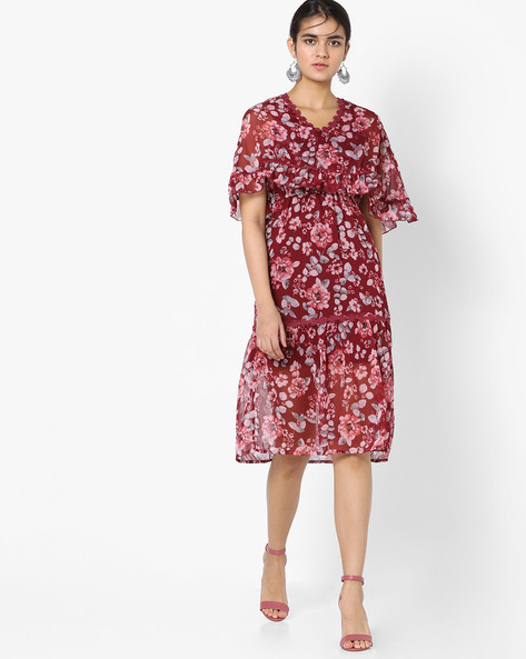 Floral Print Popover Dress By Oxolloxo ( Multi )