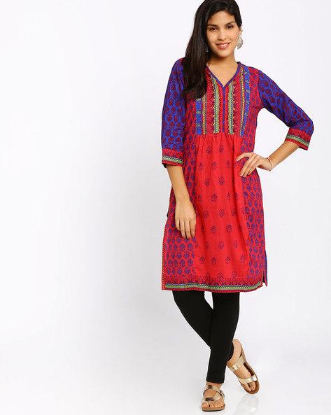 Printed Cotton Kurta By Rangriti ( Red ) - 440663898005
