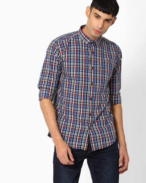 Slim Fit Cotton Checked Shirt By BASICS ( Blue )