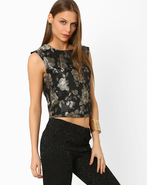 Jacquard Crop Top By AJIO ( Gold )