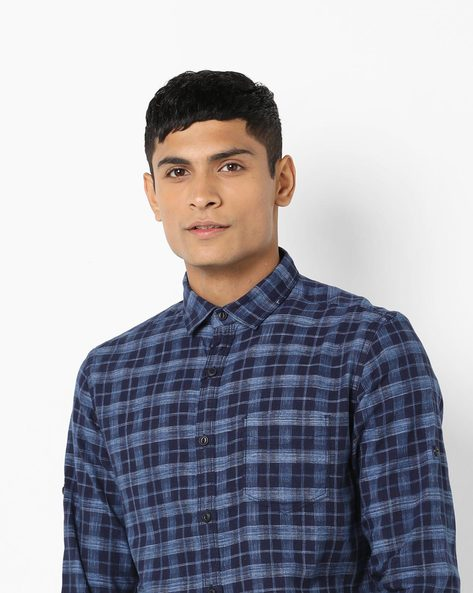 Checked Slim Fit Shirt With Patch Pocket By Locomotive ( Multi )