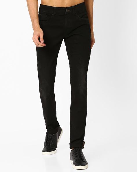 Blade Fit Mid-Rise Stretch Jeans By BASICS ( Black )