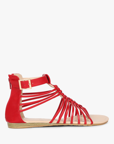 Ankle-strap Sandals With Buckle Closure By MFT Couture ( Red )