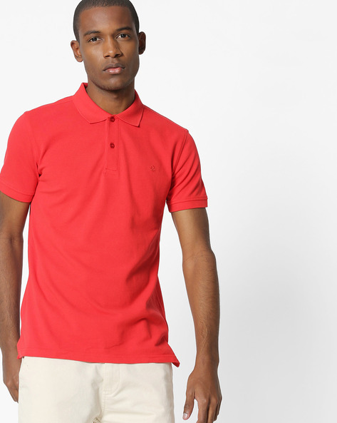 Pique Knit Cotton Polo T-shirt By UNITED COLORS OF BENETTON ( Darkred )