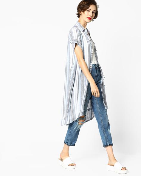 Striped Shirt Kurta By Melange By Lifestyle ( Blue )
