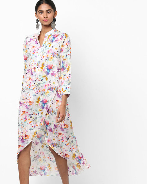 High-Low Floral Print Dress With Tulip Hem By Biba ( Multicolour )