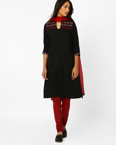 Churidar Kurta With Dupatta By AVAASA SET ( Black )