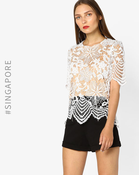 Lace Top With Scalloped Hems By MDS ( White )