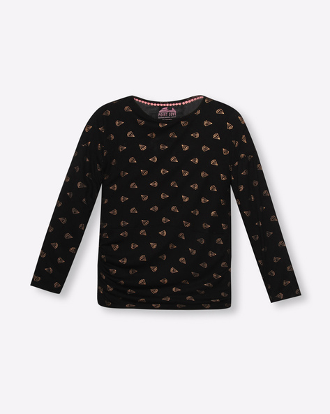 Printed T-Shirt With Ruched Sides By POINT COVE ( Black )