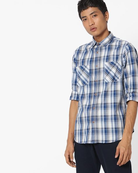 Checked Shirt With Twin Pockets By AJIO ( Navy )