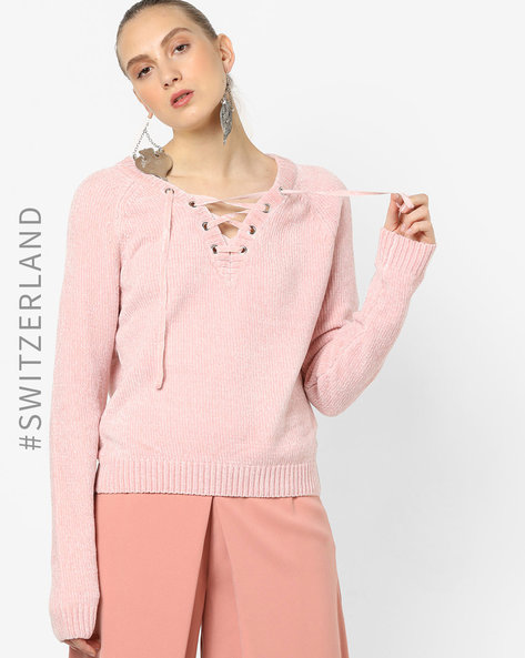 Pullover With Lace-Up Neckline By TALLY WEiJL ( Pink ) - 460153628005