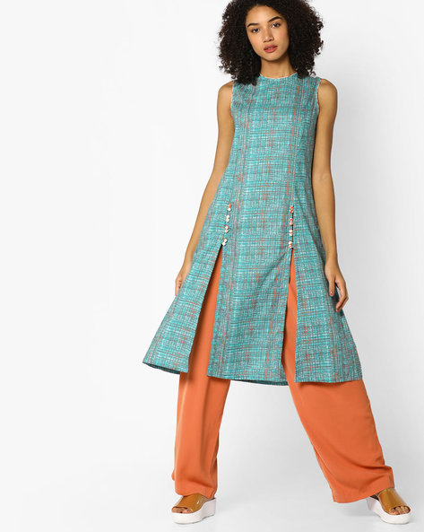 Printed A-line Kurta With Front Slits By AJIO ( Multi )