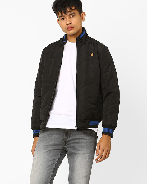Quilted Bomber Jacket With High Collar By DUKE ( Black ) - 440731824005