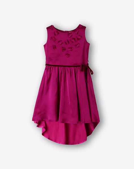 Sleeveless High-Low Satin Dress By Cutecumber Exclusive For Ajio ( Purple )