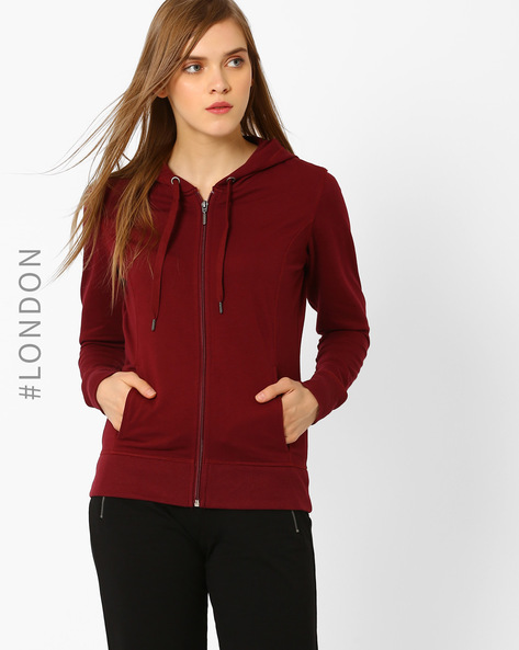 Hooded Zip-Front Sweatshirt By Marks & Spencer ( Red )