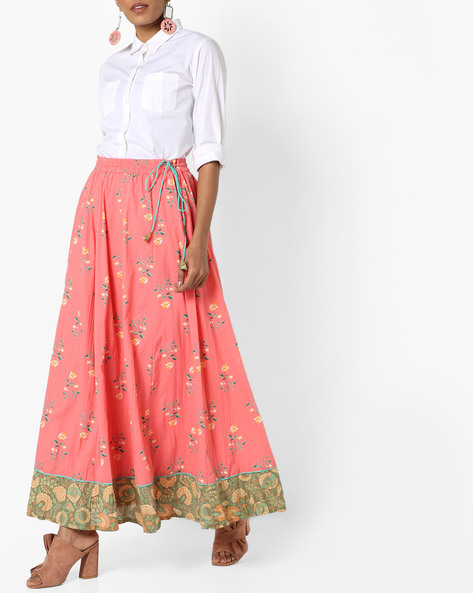 Floral Print Maxi Skirt With Drawstring Waist By AJIO ( Coral )