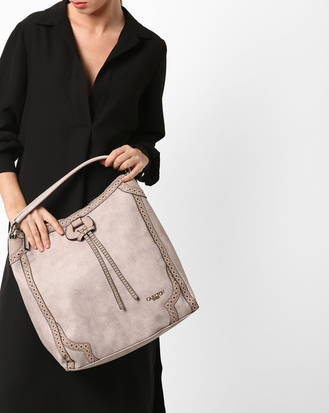 Shoulder Bag With Zip Closure By Carlton London ( Stone )