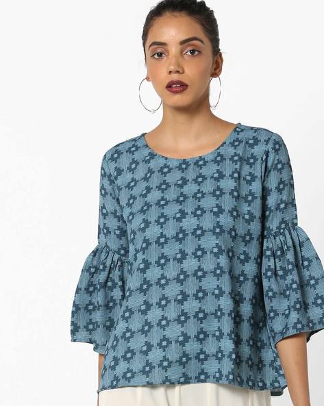 Floral Top With Bell Sleeves By Project Eve IW Fusion ( Blue )