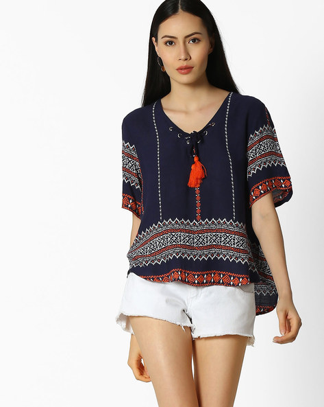 Printed Top With Tassel Detail By FIG ( Navy )