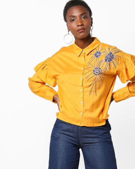 Shirt With Floral Embroidery By Rena Love ( Yellow )