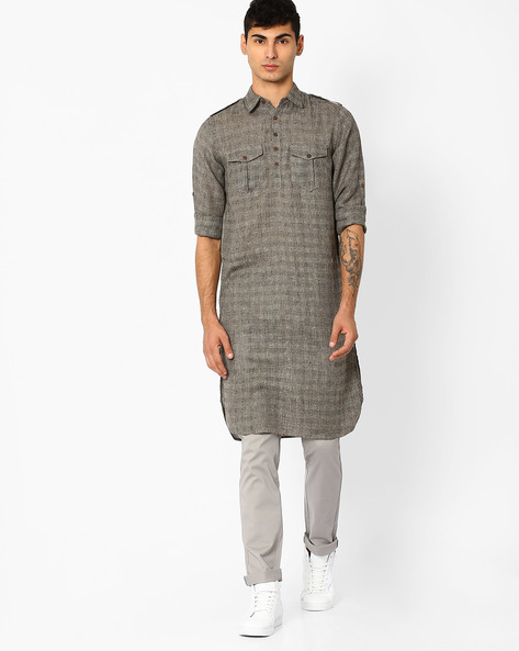 Slim Fit Long Kurta With Checks By FREE HAND ( Black )
