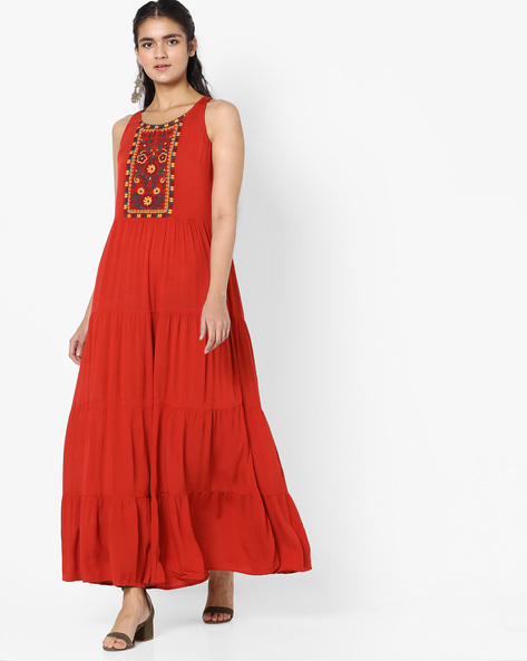 Tiered Dress With Embroidery By Global Desi ( Rust )