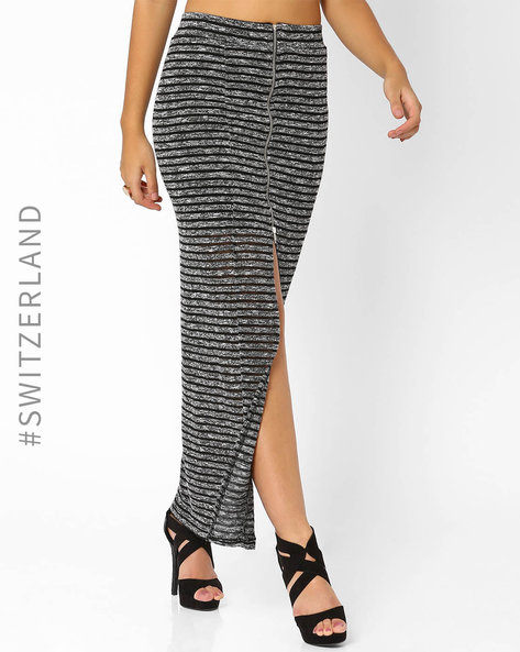 Maxi Skirt With Front Zip By TALLY WEiJL ( Black )