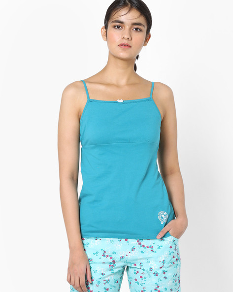 Camisole Top With Adjustable Straps By Enamor ( Ltblue )