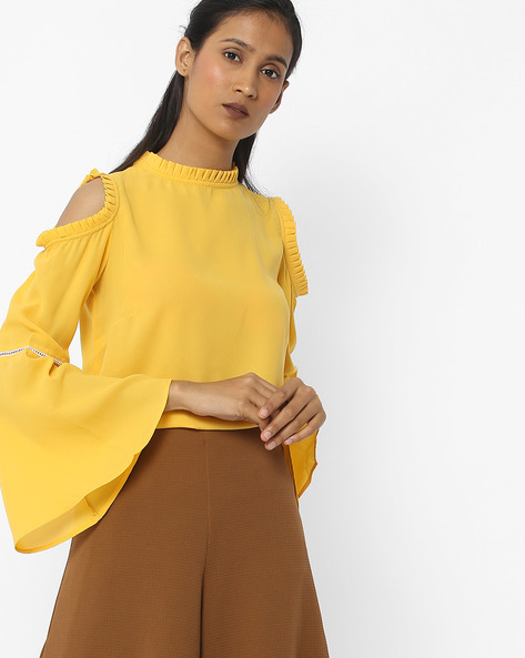 Ruffled Neck Top With Bell Sleeves By FIG ( Mustard )