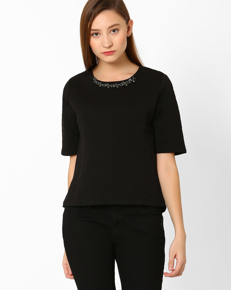 Textured Top With Neckpiece By FIG ( Black )