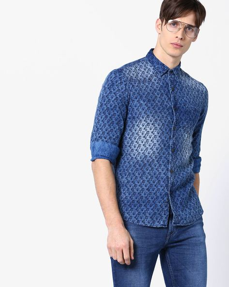 Printed Slim Fit Shirt By AJIO ( Indigo )