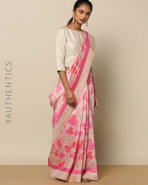 Printed Pure Silk Tussar Saree With Zari Border By Rudrakaashe-MSU ( Pink )