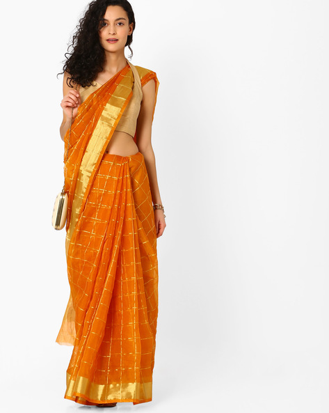 Checked Saree With Contrast Border By Pihu ( Orange )