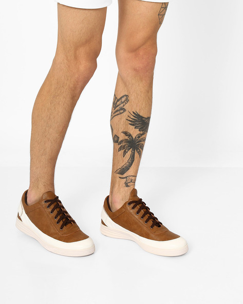 Faux-Leather Lace-Up Sneakers By Knotty Derby ( Tan )