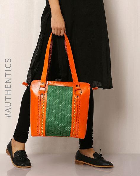 Kutch Cutwork Mashru Leather Handbag By Indie Picks ( Orange )