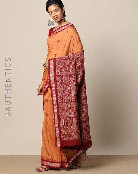 Handloom Bomkai Cotton Saree By Indie Picks ( Brown )