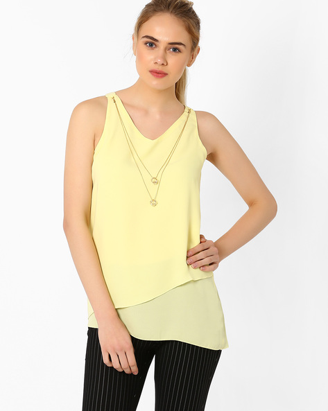Sleeveless Top With Layered Hem By Annabelle By Pantaloons ( Yellow )