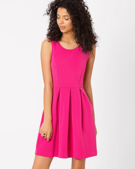 Pleated Fit & Flare Dress By Candies By Pantaloons ( Pink )