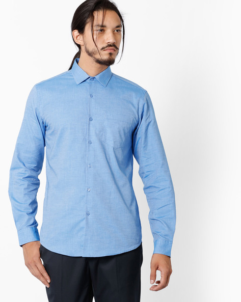 Slim Fit Shirt With Patch Pocket By Black Coffee ( Blue ) - 460036703004